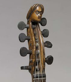 Hardanger Fiddle with carved head piece.