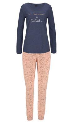 39e6cb7896 Lascana 100% Cotton Long Sleeve Pyjamas - Navy   Apricot - 6 8 10
