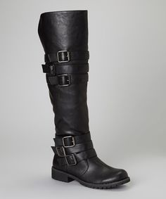 "$32, 12 nan 2014. 1.25"" heel, 18.5"" shaft. Love this Black Buckle Vivienne Boot by Nature Breeze on #zulily! #zulilyfinds"