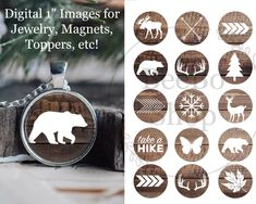 Christmas Bottle Cap Image with a woodland theme. Christmas Wood Crafts, Handmade Christmas, Christmas Ornaments, Bottle Cap Crafts, Bottle Caps, Image Digital, Image Collage, Bottle Cap Images, Image Notes