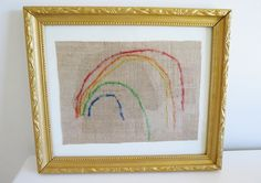 Fantastic first embroidery project for pre-schoolers.  Rainbows!