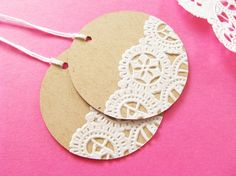 Add paper doilies to card stock for adorable labels or gift tags.