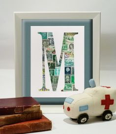 Green Vintage Postage Stamp Monogram (A - Z available) by Max and Me Designs on MadeIt