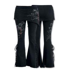 Black Boho Gypsy Gothic Lace Up Flare Skirt Pants Bleeding Roses 3 Styles S-2XL