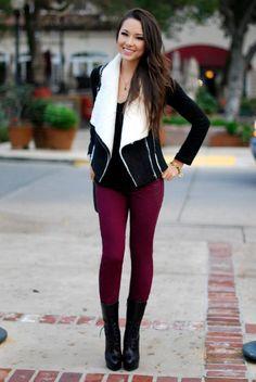 Colored jeans are still a wardrobe staple in the winter!