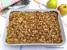 Apple Crisp Baked Oatmeal -- I bake it the night before for a delicious, healthy breakfast at the ready!