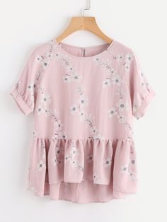 Online shopping for Botanical Print Raglan Sleeve Hi Lo Smock Top from a great selection of women's fashion clothing & more at MakeMeChic. Diy Clothes, Fashion Clothes, Fashion Outfits, Clothes For Women, Womens Fashion, Beautiful Outfits, Cute Outfits, Moda Floral, Look Girl