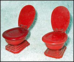 Red Toilet Salt and Pepper Shakers Vintage Plastic | eBay