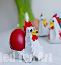 Egg carton crafts - chicken egg cup / Húsvéti tojástartó Csirkék tojástartóból / Mindy