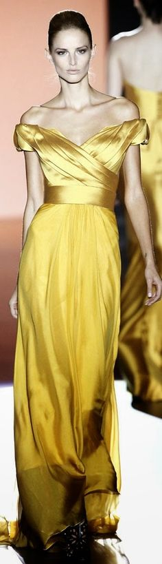 Hannibal Laguna ~ Spring off the shoulder Gown, Gold, 2015 - Madrid Fashion Week
