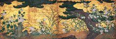 (Japan) Gold folding screens by Hasegawa Tohaku. Japanese Ink Painting, Japanese Style House, Ceiling Painting, Japanese Screen, Art Japonais, Orient, Japan Art, Fall Flowers, Woodblock Print
