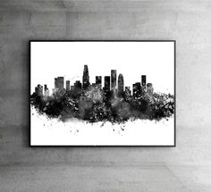 Los Angeles Watercolor Print City Skyline Los Angeles Poster City Watercolor Black City Silhouette Wall Hanging Home Decor Gift Idea WT21 by artRuss on Etsy
