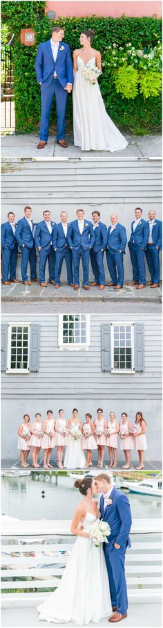 Browse gorgeous wedding photos from real Zola couples, and find ideas, venues, vendors, and more for your special day. Blue Groomsmen Suits, Blue Suits, Bright Blue Suit, Elegant Wedding Dress, Wedding Dresses, Pink Bridesmaid Dresses, Southern Weddings, Wedding Styles, Wedding Ideas