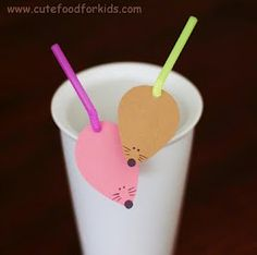 Decorated Straw #craft #mouse #cute Could do it w/any animal or make a letter