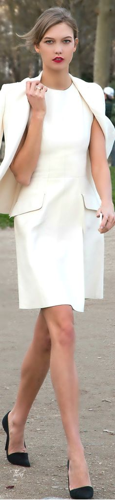 Style In The City ● Karlie Kloss white dress, blazer. women fashion outfit clothing stylish apparel @roressclothes closet ideas
