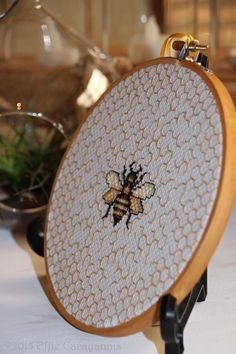 Bee Cross stitch.  Designed and created by Effie Carayannis