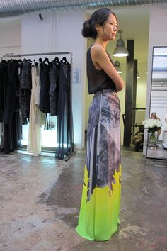 Maxi + sheer: long silk skirt from Basso & Brooke + a simple black top #grey #yellow #neon