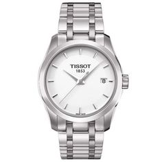 Tissot Women's T035.210.11.011.00 White Dial Couturier Watch Tissot. $350.00. Mineral. Case diameter: 35 mm. Casual watch, stainless steel case. Quartz. Water resistant to 100 m (330 feet)