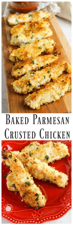 Baked Parmesan Crusted Chicken Recipe - use crushed pork rinds in place of bread crumbs