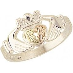 Beautiful! Sterling-silver Yellow-gold Black Hills Gold Women's Claddagh Ring: Jewelry: Amazon.com