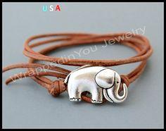 Lucky ELEPHANT Leather Wrap Bracelet Adjustable by WrappedinYou