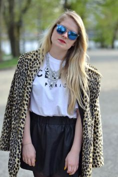 Leopard coat Outfits 2014, University Outfit, Bell Sleeves, Bell Sleeve Top, Leopard Coat, College Outfits, Ruffle Blouse, Collection, Mirrored Sunglasses