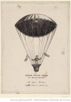 Second voyage aérien et 1re. Descente en Parachute de M. Eugène Robertson, Exécuté à Lisbonne le 12 Décembre 1819 : [estampe] - 1