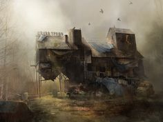 ArtStation - Post-apocalyptic house., Marion Lemaitre - I highly recommend you actually open the link, click on the image on the original website and look at all the detail up close. So brilliant.
