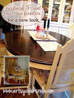 update an old dining set. ASP Old white and dark wax on chairs. Table top: min wax stain in english chestnut and minwax Walnut. Cabinet and Table base: Mash up of Sherwin Williams Creamy with acrylic brown and yellow paint. Directions included for diy