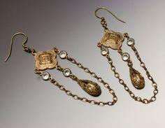 Vintage Crystal Chain Earrings by HutaPearlJewelry on Etsy