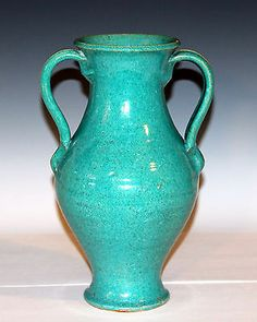 Vintage Large North Carolina Art Pottery Hand Thrown Blue Green Vase AR Cole?