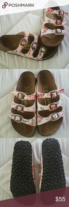 NWOT Birkenstock Papillio sandals Brand new condition! Worn once maybe??? No signs of wear that I can see. Super cute floral print on straps and copper hardware. I'm normally a size 6-7 and these fit perfectly but these could definitely fit a 5.5 too I think because they have adjustable straps Birkenstock Shoes