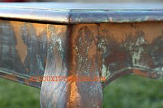 Copper Patina on a Sofa Tablewith Modern Masters Metal Effects.  REDOUXINTERIORS.COM  FACEBOOK: REDOUX