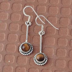 YELLOW TIGER EYE EXCLUSIVE 925 SOLID SILVER EARRING 3.00g JEWELLRY DJER940 #Handmade #Earring