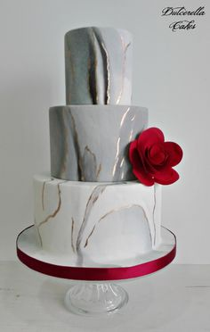 Grey & red Marble Wedding Cake - For all your cake decorating supplies, please visit https://www.craftcompany.co.uk/