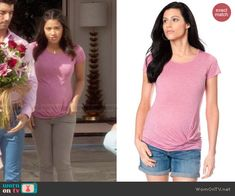 Jane's pink twist-front tee on Jane the Virgin. Outfit Details: http://wornontv.net/47676/ #JanetheVirgin