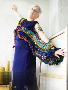 https://flic.kr/p/eUjTFQ | The Bollywood Connection - When I see an elephant fly | Sensitive & colorful knitting for the SariSilkProject on the Silk Road to heaven....  infinite wearing…