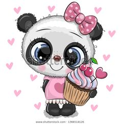Cute Panda girl with pink bow. Cute cartoon Baby Panda girl with pink bow royalty free illustration Panda Kawaii, Niedlicher Panda, Cartoon Panda, Baby Cartoon, Cute Cartoon, Tatty Teddy, Cute Images, Cute Pictures, Beautiful Pictures