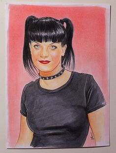 Pauley Perrette, Abby Sciuto, copic on paper, x 5 inches Abby Sciuto, Pauley Perrette, Ncis, Copic, Sketch, Paper, Artwork, Cards, Sketch Drawing