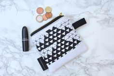 Handmade Clutch, Vegan Gifts, Canvas Fabric, Zipper Pouch, Black Print, Hand Sewing, Screen Printing, Two By Two, The Originals