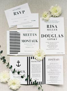 Photography : James A. of Judy Pak Photography   Invitations : Matthew Wengerd    Wedding Venue : Gurneys Montauk Resort and Seawater Spa   Wedding Dress : Oscar de la Renta  Read More on SMP: http://www.stylemepretty.com/little-black-book-blog/2017/02/20/modern-chic-al-fresco-hamptons-wedding/