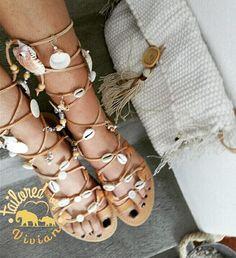 """Δερμάτινα σανδαλακια """" Coquilles """"  δετά έως το γόνατο η έως πάνω από τον αστράγαλο με κοχυλακια    EU size 35 - 42 for women    #wordwideshipping  #tailoredbyvivian  Leather Sandals """" Coquilles """" laced up to the knee to above the ankle with shells  #tailoredbyvivian #greekdesigners #greece #madeingreece #summer #greeksandals #leathersandals #ladies #girls #kidssandals #kids #betailored #betheone #shellsandals #wordwideshipping #worldwide Greek Sandals, Leather Sandals, Boho, Bracelets, Handmade, Shoes, Jewelry, Fashion, Moda"""