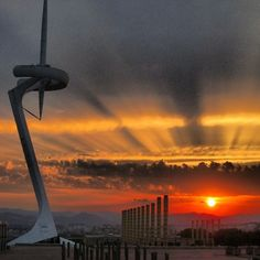 Sunset in Barcelona, Spain