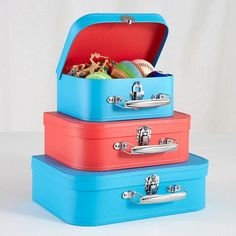 The Land of Nod | Kids Storage: Blue and Red Storage Suitcases in New Storage $19.95