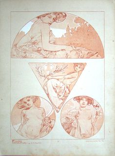 """'Figures Décoratives' by Alphonse Mucha. Published 1905 by Librairie Centrale des Beaux Arts, Paris.  """"This beautiful folio reflects Alphonse Mucha's mastery of the female form. As Art Nouveau's most influential artist, Mucha renders women and their sensuality in sensitive detail, his classic curvilinear lines accompanying compositions of women in natural settings."""""""