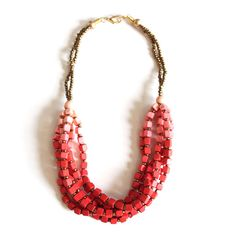 Coral Cube Necklace