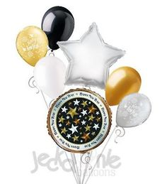 7 pc New Years Eve Stars Balloon Bouquet Party Decoration 2015 Gold & Silver