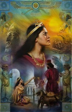 "1 Kings - ""And when the queen of Sheba heard of the fame of Solomon concerning the name of the LORD, she came to prove him with hard questions."" Art by Nathan Greene. Bible Pictures, Jesus Pictures, Christian Images, Christian Art, Ancient Persian, Ancient Art, Ester In The Bible, Reine Esther, Queen Esther Costume"