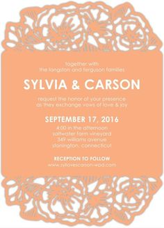 Peony Perfection - Signature Laser Cut Wedding Invitations - Alexis Mattox Design - Orange Sherbet - Orange : Front