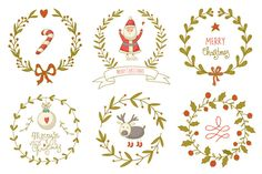Hand drawn Christmas wreaths set by Blue Ink Studio on Creative Market